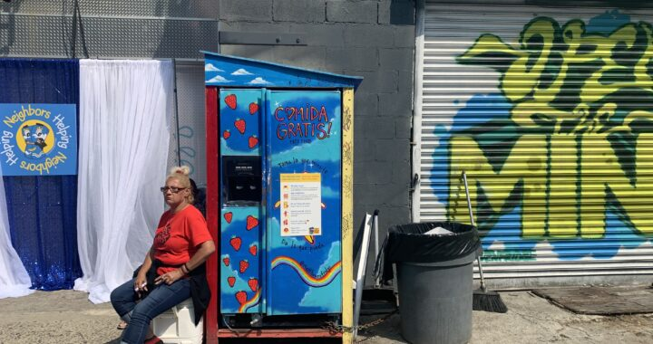 Residents celebrate success of free community fridge with sidewalk brunch